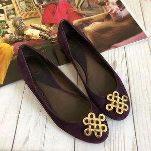 Diane Von Furstenberg Purple Suede Logo Flats